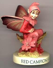 Red Campion Fairy with Base (boxed) (RETIRED but in stock)