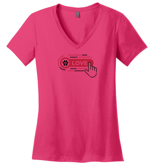 Ladies Valentine Love Tee with Paw Print