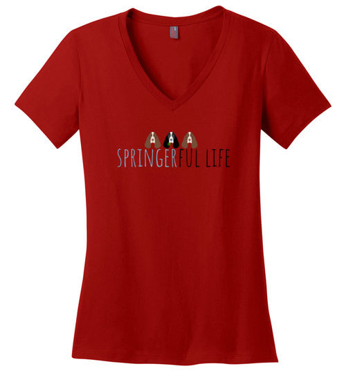 ESRA Patriotic Dog - Ladies V-Neck Tee Short Tail Springer