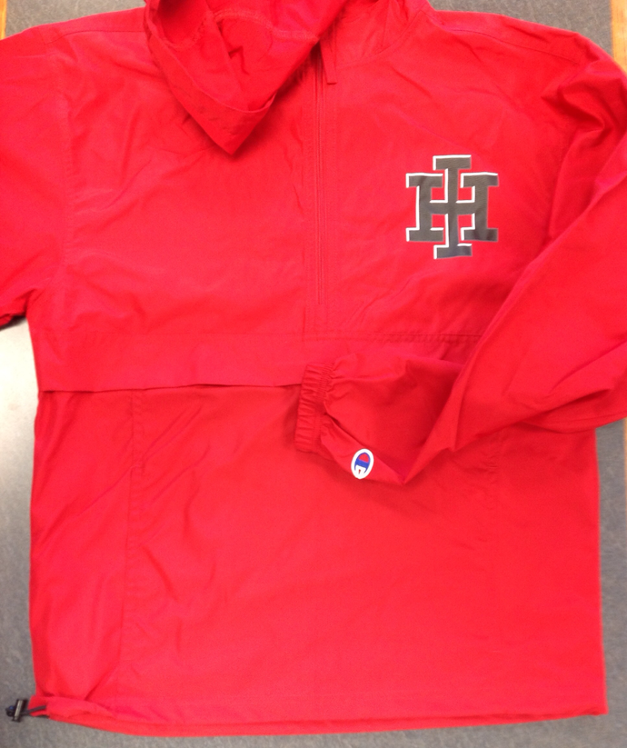 Red Champion Hooded packable jacket