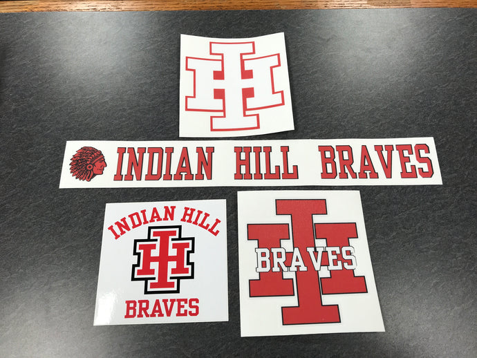 Large Indian Hill Braves stickers