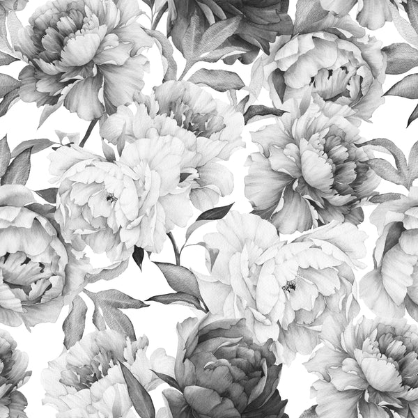 uniQstiQ Murals Black and White Peony Wallpaper Mural Wallpaper