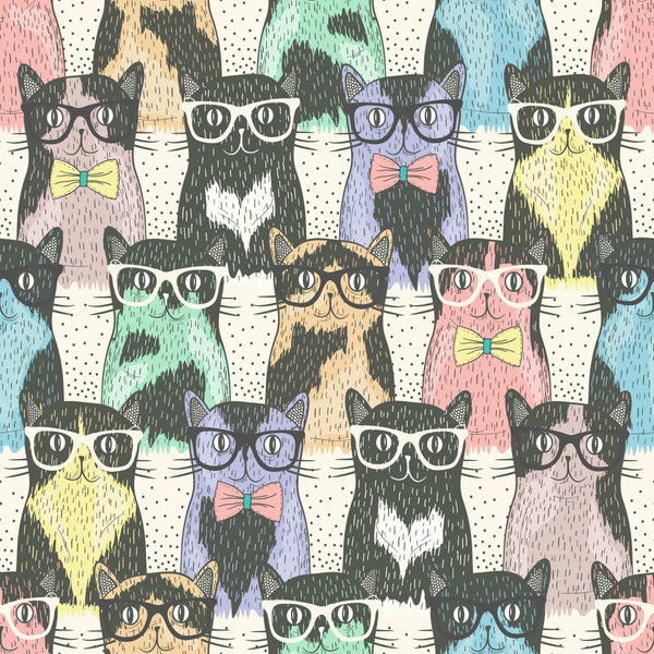 uniQstiQ Kids Colorful Cats Wallpaper Wallpaper