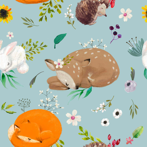 uniQstiQ Kids Cute Animals with Flowers Wallpaper Wallpaper