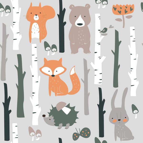 uniQstiQ Kids Cute Fox and Bunnies Wallpaper Wallpaper