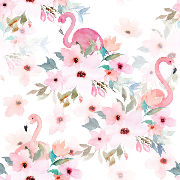 uniQstiQ Floral Flamingos with Peonies Wallpaper Wallpaper