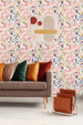 uniQstiQ Botanical Multicolored Hand Drawn Light Flowers Wallpaper Wallpaper