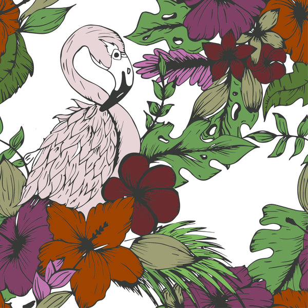 uniQstiQ Vintage Retro Flamingos Wallpaper Wallpaper