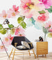 uniQstiQ Murals Spring Floral Watercolor on White Background Wallpaper Mural Wallpaper