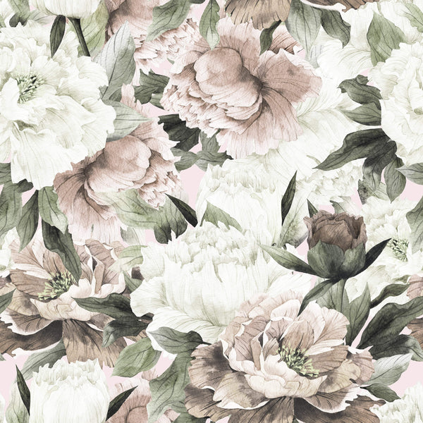 uniQstiQ Murals Vintage Bouquet Of Peonies Wallpaper Mural Wallpaper