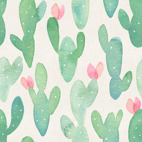 uniQstiQ Tropical Watercolor Cactus Wallpaper Wallpaper