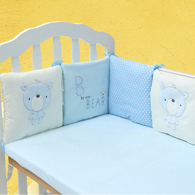 6PCS Blue Bear Cot Bumper Set Australia Baby Shop cot bumper PBear Warehouse for Australia Baby Goods Online.