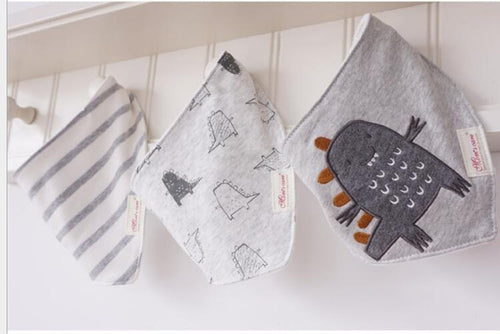3PCS Grey Monster Bandana Bibs Australia Baby Shop Bibs PBear Warehouse for Australia Baby Goods Online.