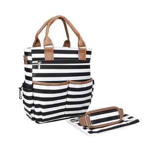 Black Striped Tote Nappy Bag Australia Baby Shop Bag PBear Warehouse for Australia Baby Goods Online.
