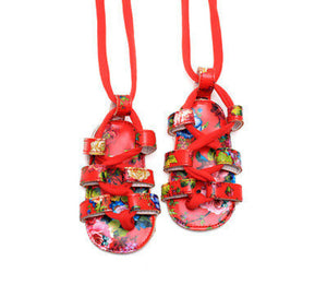 Red Lace-Up Floral Sandals Australia Baby Shop Sandals PBear Warehouse for Australia Baby Goods Online.