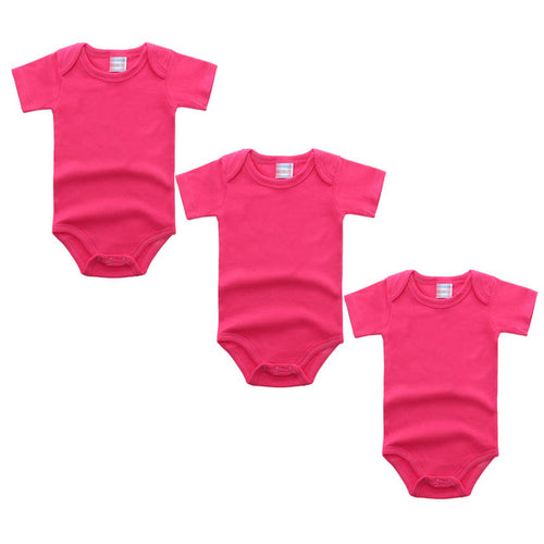 3PC Hot Pink Short Sleeve Romper Set Australia Baby Shop Romper PBear Warehouse for Australia Baby Goods Online.