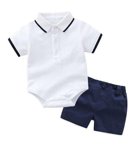 Navy Boy Romper Set