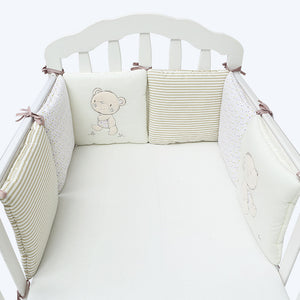 6PCS Beige Bear Cot Bumper Set Australia Baby Shop cot bumper PBear Warehouse for Australia Baby Goods Online.