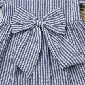 Blue Stripe Bow Dress