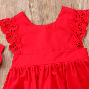 Red Lace Ruffle Dress Romper