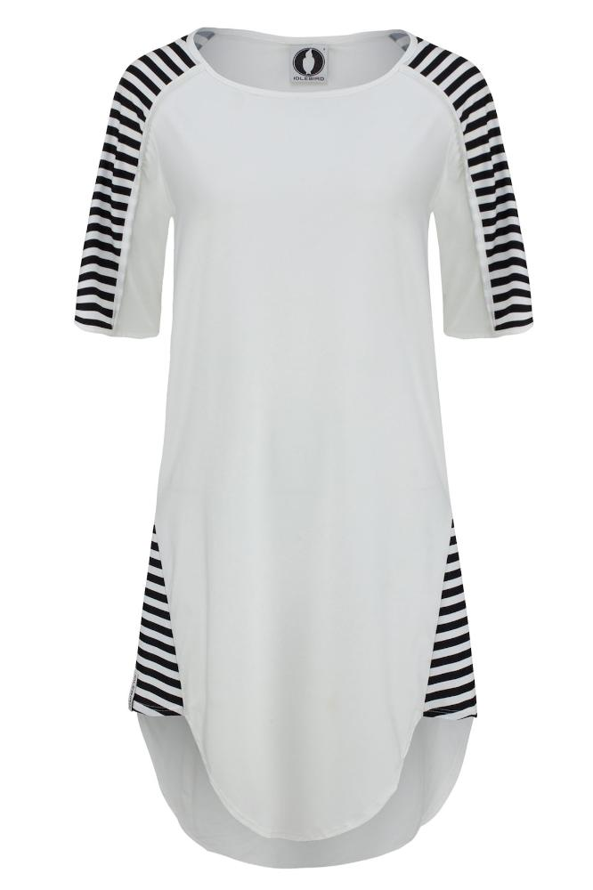Goddess Tunic - White and Stripes UPF50+, Sun protective clothing, Idlebird