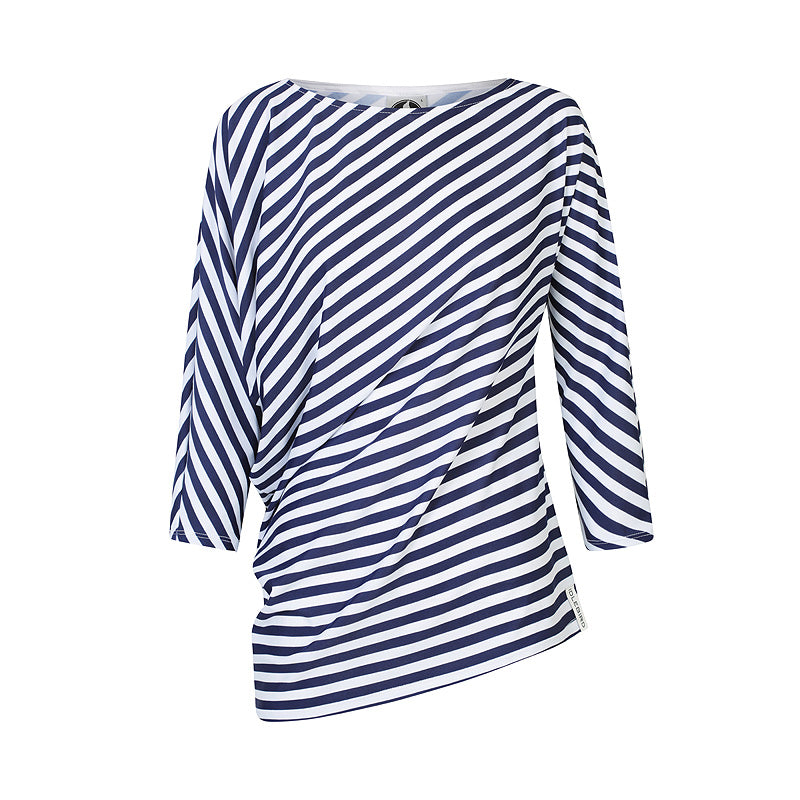 The Side Drape Top - Blue and White Stripe UPF50+, Sun protective clothing, Idlebird