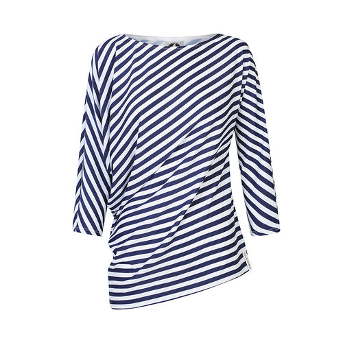 The Side Drape Top - Blue and White Stripe UPF50+