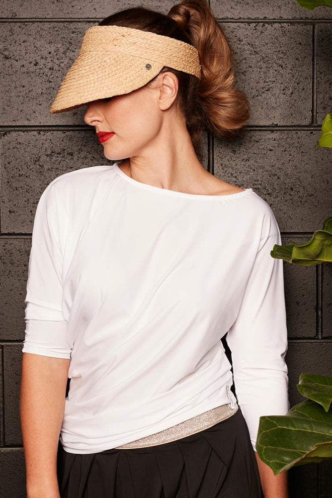 The Side Drape Top - White  UPF50+