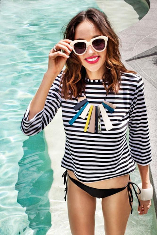 Sail Away Tank - Black and White Stripes UPF50+