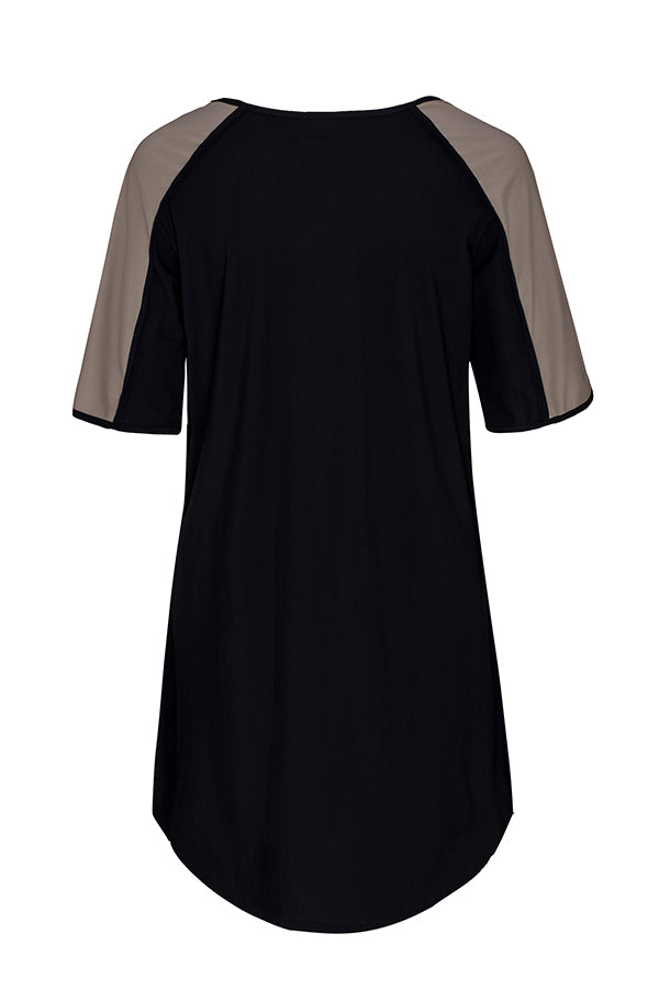 Goddess Tunic - Black and Tan UPF50+, Sun protective clothing, Idlebird