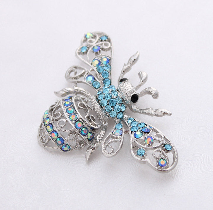 Summer Bee Brooch Something Blue Wedding Gift Crystalitzy