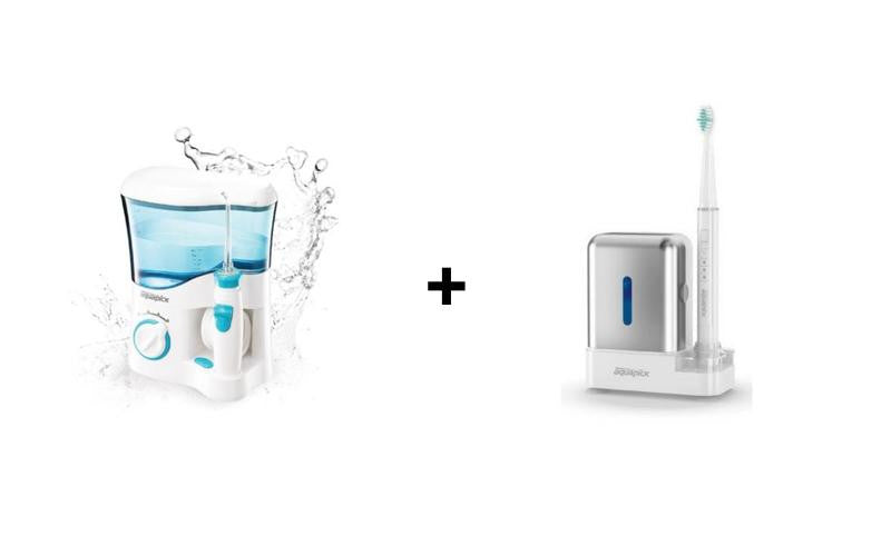 BUNDLE DISCOUNT: Mouth Wash Expert Aquapick Oral Irrigator AQ-300 & Aquapick Sonic Care Electric Toothbrush AQ-110 - Evercare Innovation