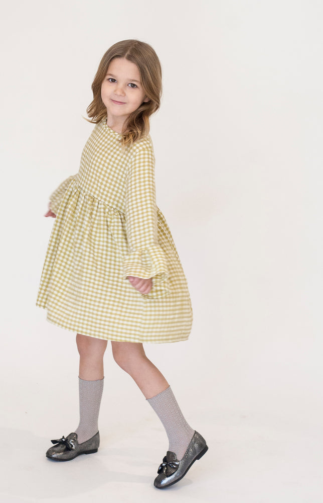 CHARTREUSE GINGHAM DRESS