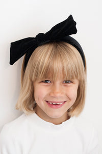 BLACK VELVET BOW HEADBAND