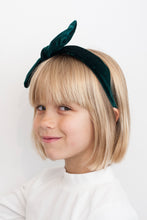 GREEN VELVET BOW HEADBAND