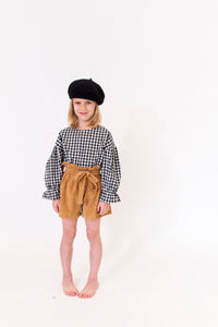 TAN CORDUROY PAPERBAG SHORTS