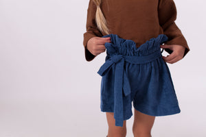 BLUE CORDUROY PAPERBAG SHORTS