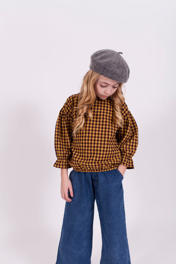 MUSTARD AND BROWN GINGHAM TOP