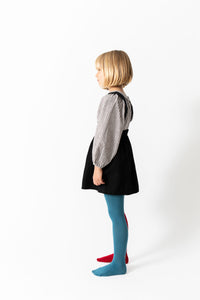 BLUE AND RED COLOR BLOCK TIGHTS