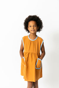 OCHRE PINAFORE DRESS