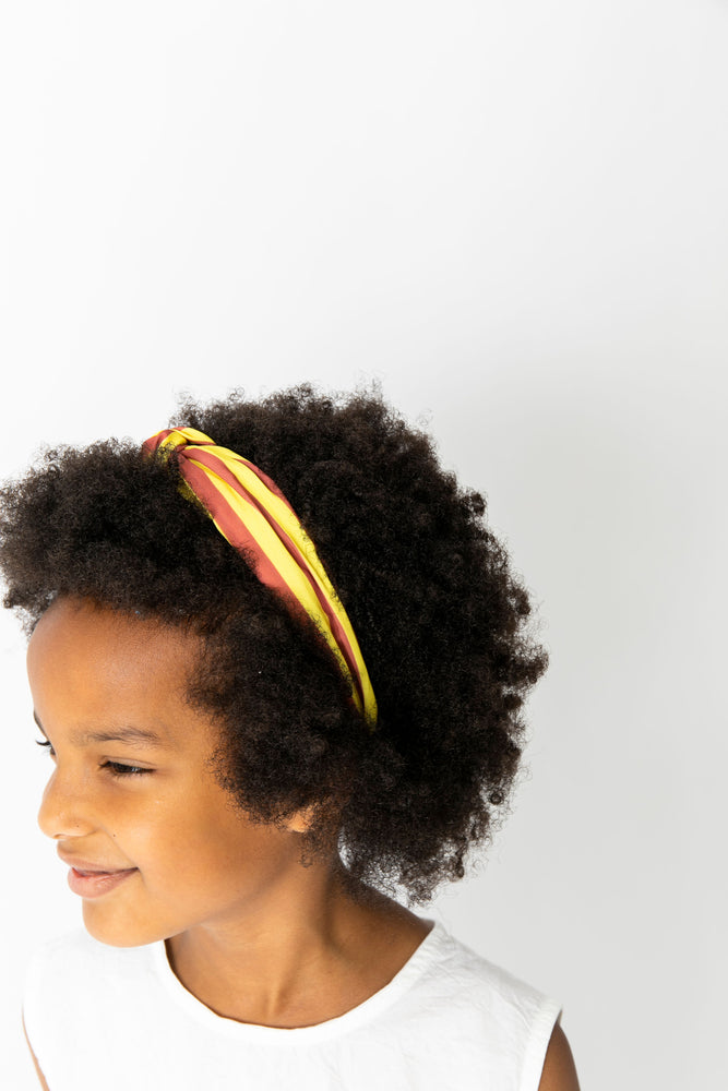 YELLOW AND BROWN STRIPED KNOT HEADBAND