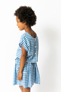 BLUE GINGHAM SHIRT AND SKIRT SET