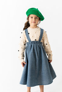 CHAMBRAY SUSPENDER SKIRT