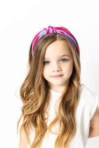 HOT PINK AND PERIWINKLE STRIPED KNOT HEADBAND