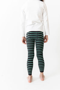 BLACK STRIPE RIBBED LEGGINGS