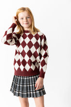 MAROON ARGYLE SWEATER