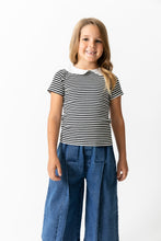BLACK STRIPED PETER PAN TOP