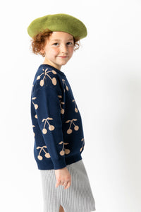 NAVY BLUE CHERRY SWEATER