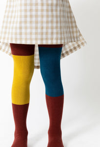MAROON COLOR BLOCK TIGHTS