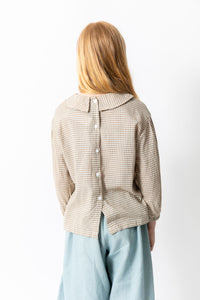 TAN GINGHAM BLOUSE